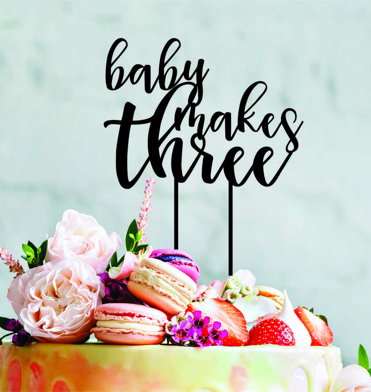 Baby makes three - baby shower - Wood Cake Topper / wooden topper