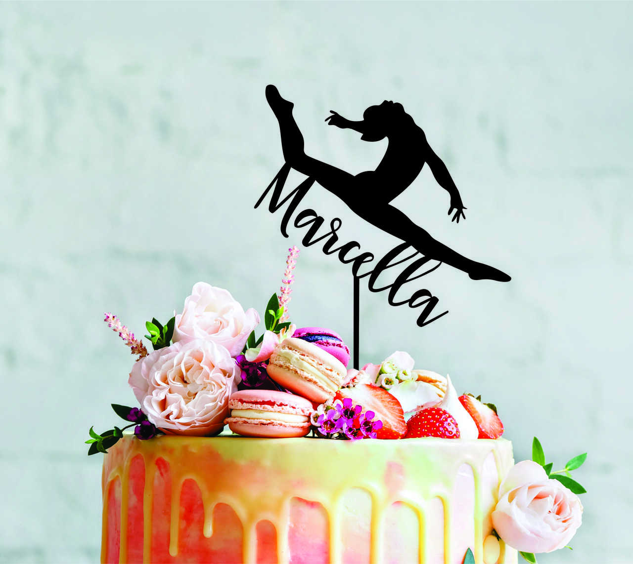 a4b304bc6783 ... Gymnastics - Custom name - birthday - Personalised Name Wood cake  topper birthday decoration