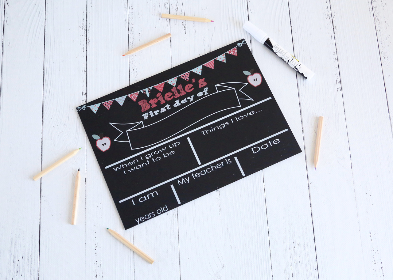 Apples First Day of school - personalised blackboard resuable sign