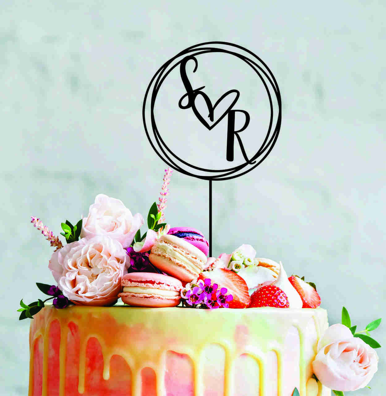 Personalised wreath - initials - Wedding cake topper