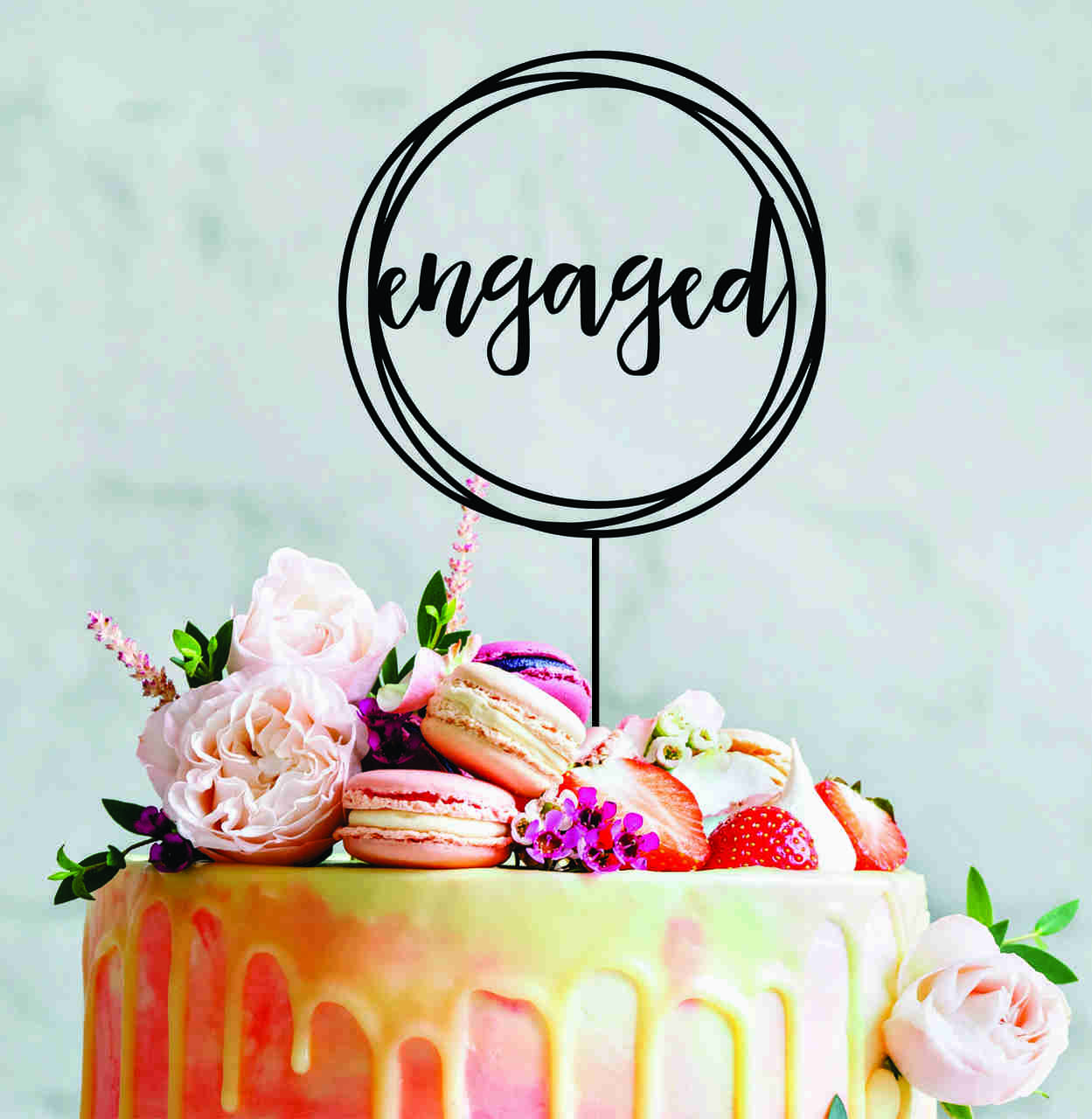 Engaged wreath - Engagement cake topper