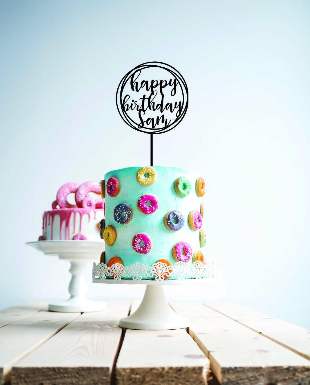 Custom Name Wreath Happy Birthday Cake Topper Anrol Designs
