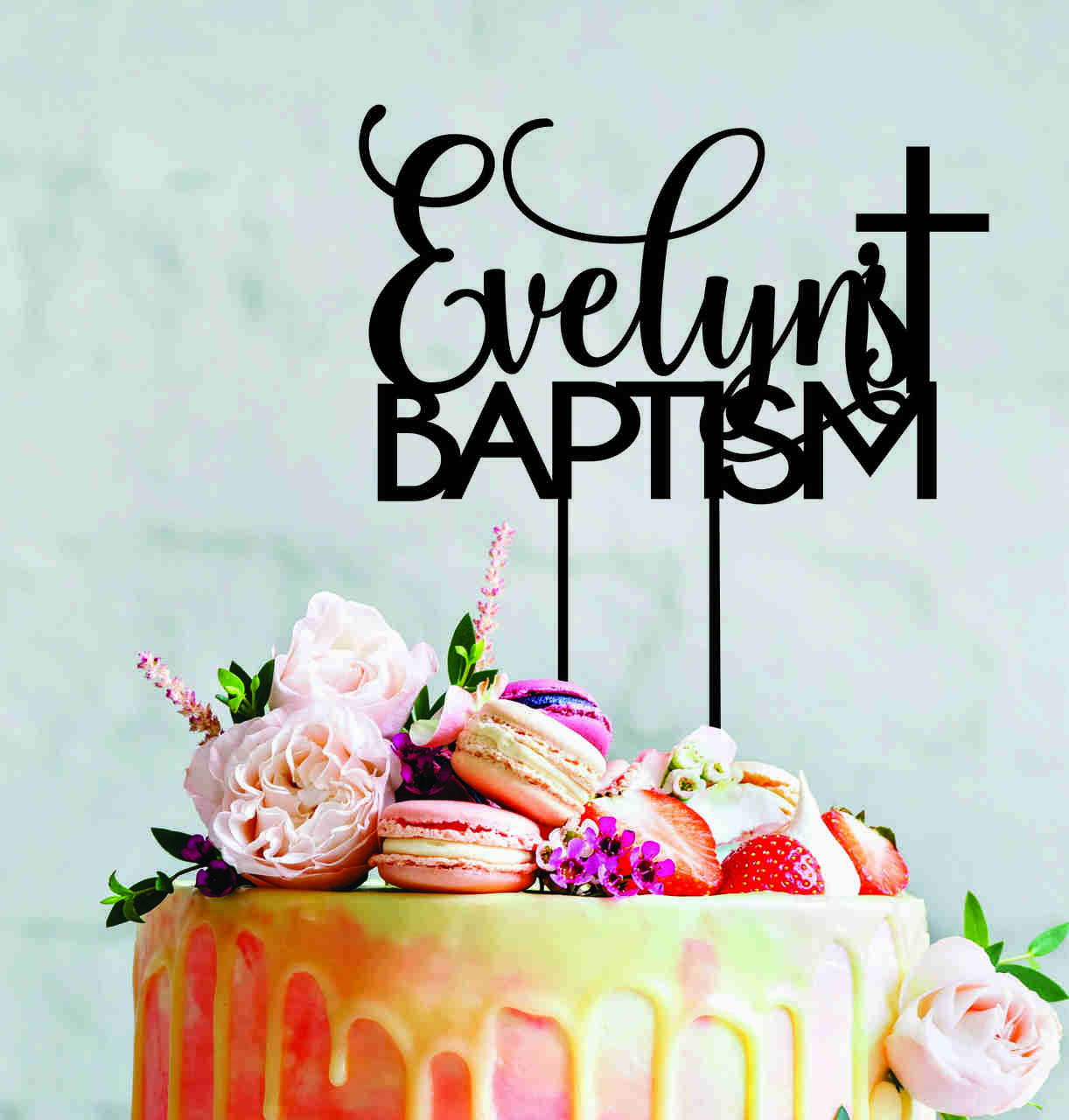 Custom Baptism cake topper with name and cross