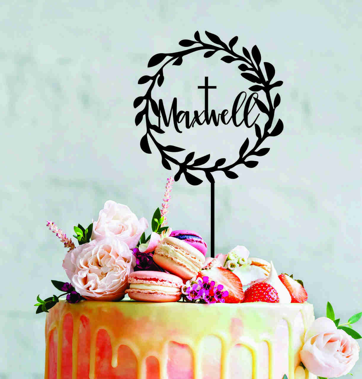 Religious Wreath cake topper with cross