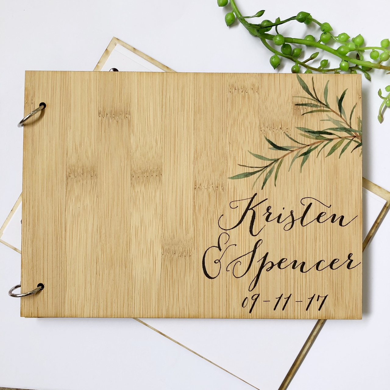 A guest book - personalised with olive branches