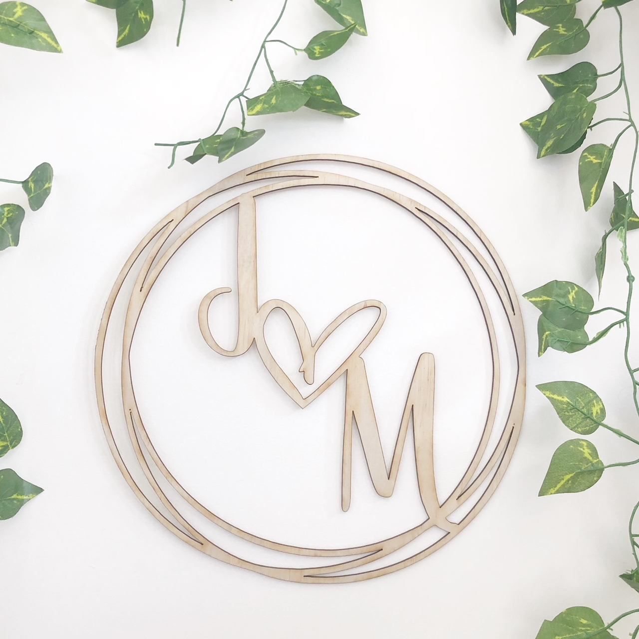 Round Circle personalised wedding welcome sign Initials