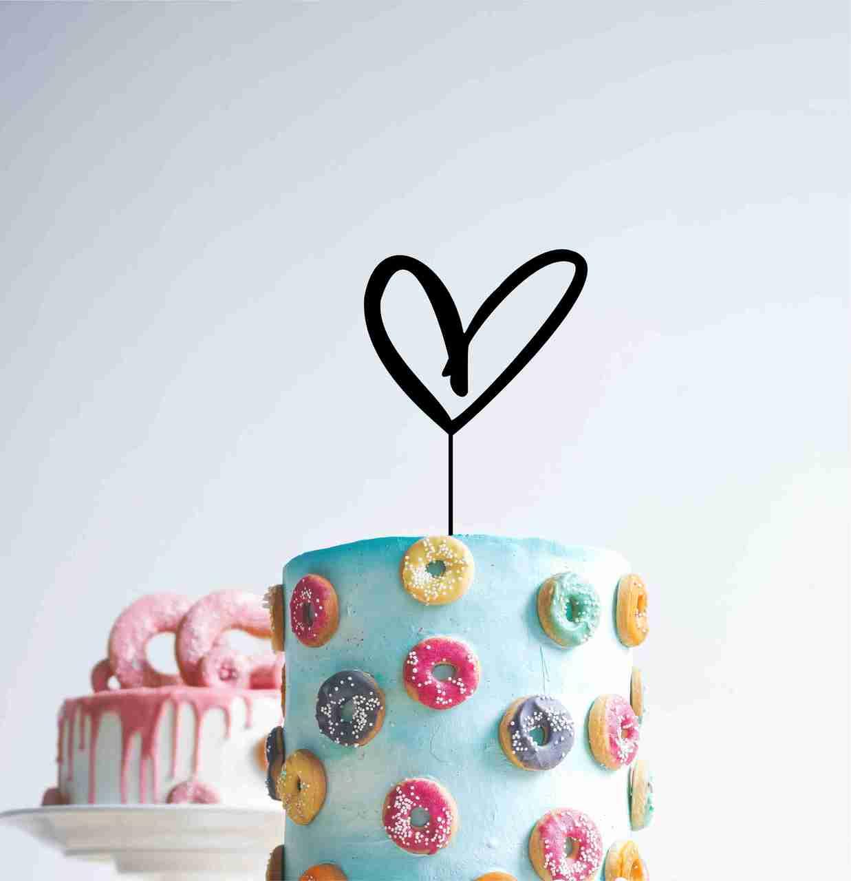 Scribble  Heart cake topper