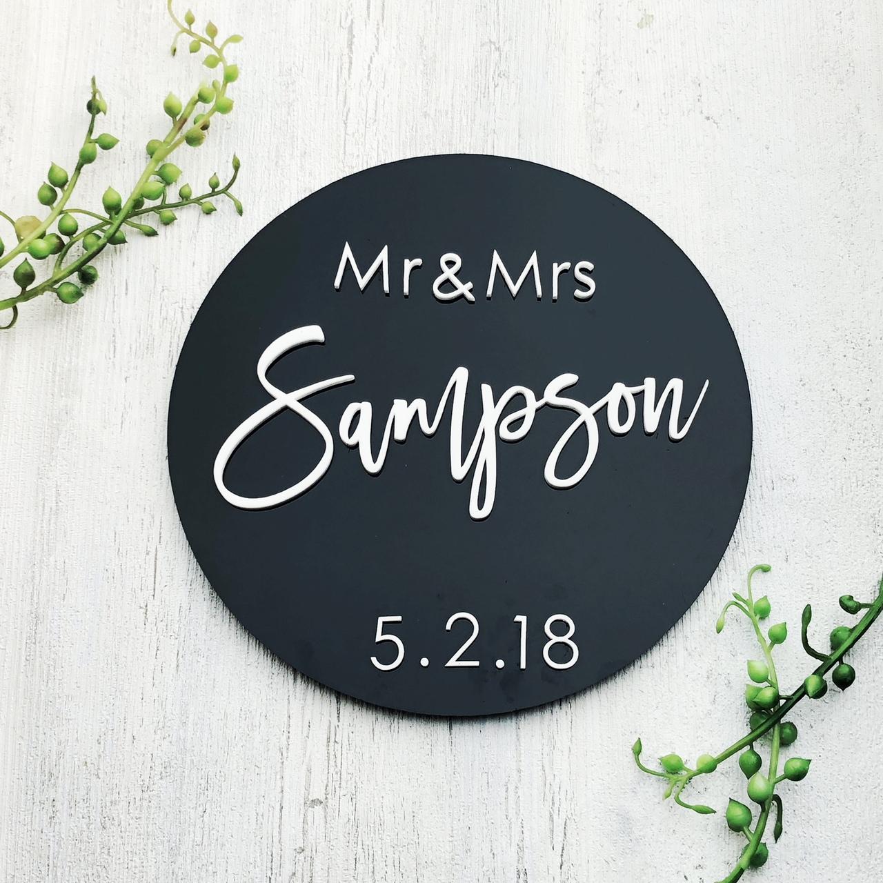Black Acrylic Wedding Sign
