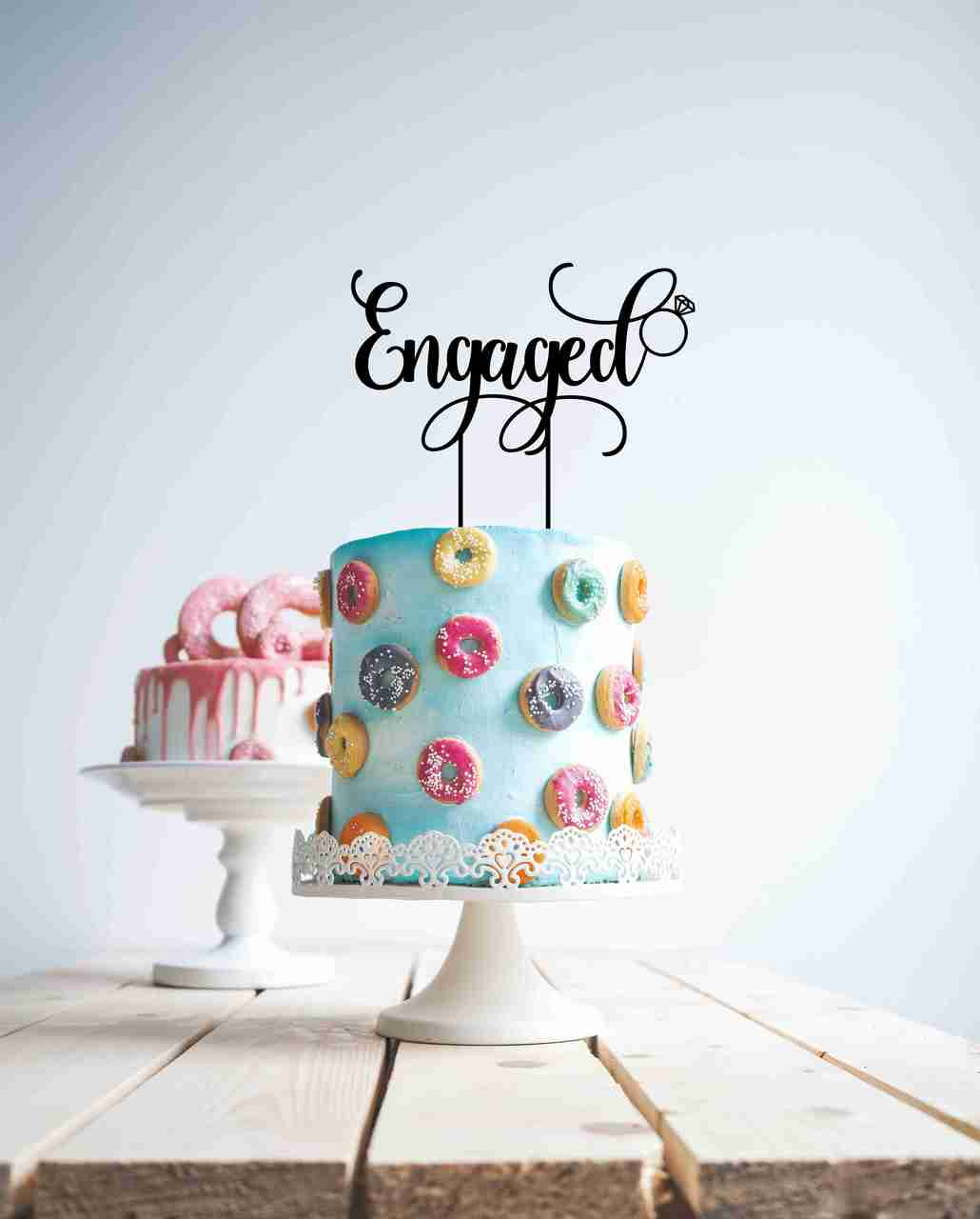 Engaged!- engagement ring cake topper