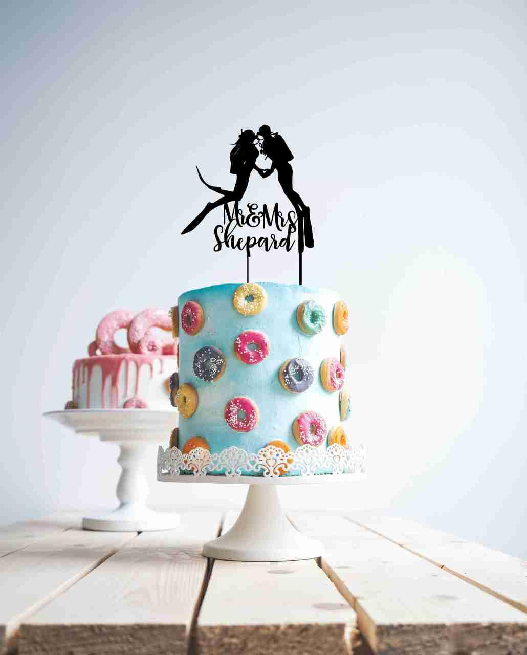 Scuba Diving Couple Cake topper
