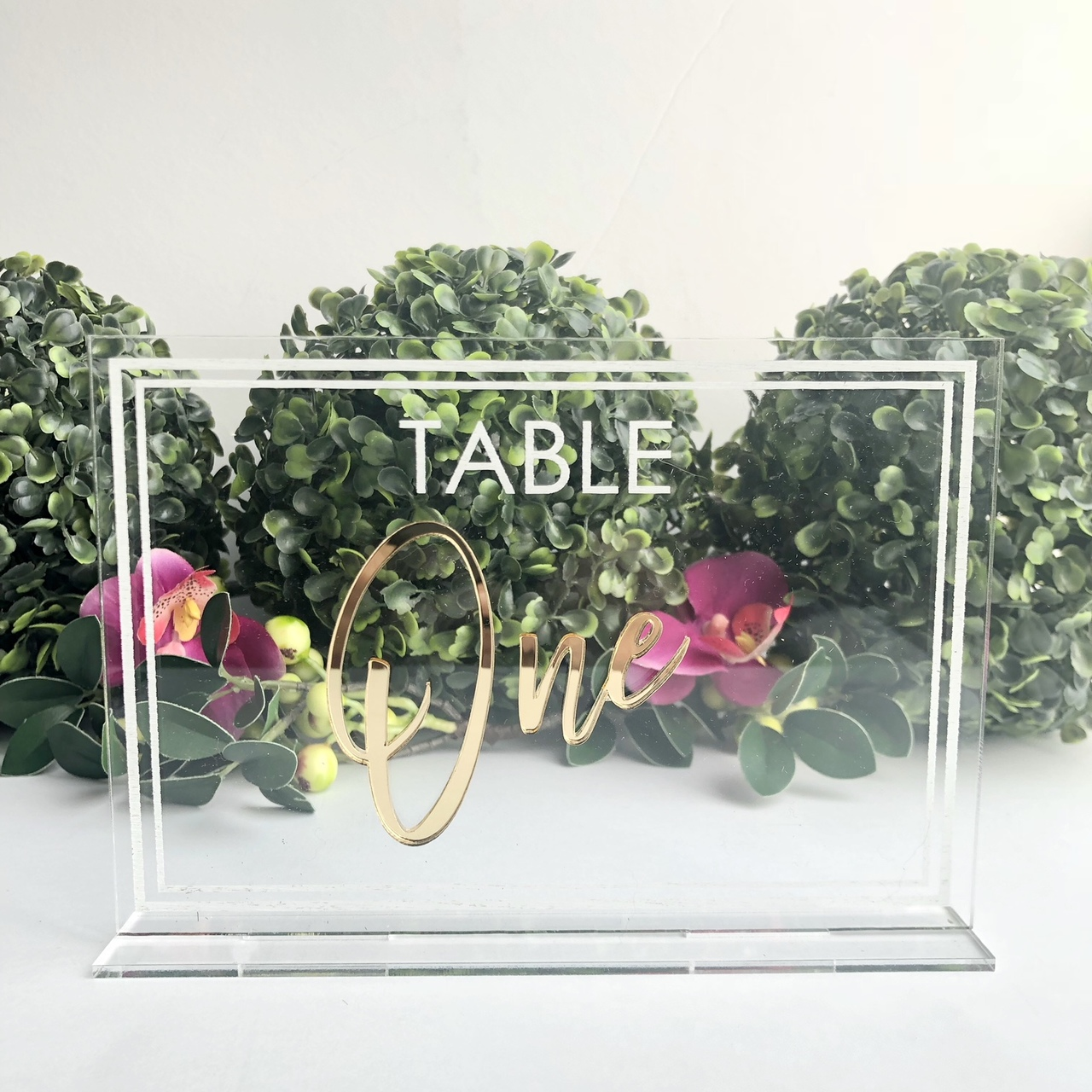 Acrylic free standing wedding table numbers
