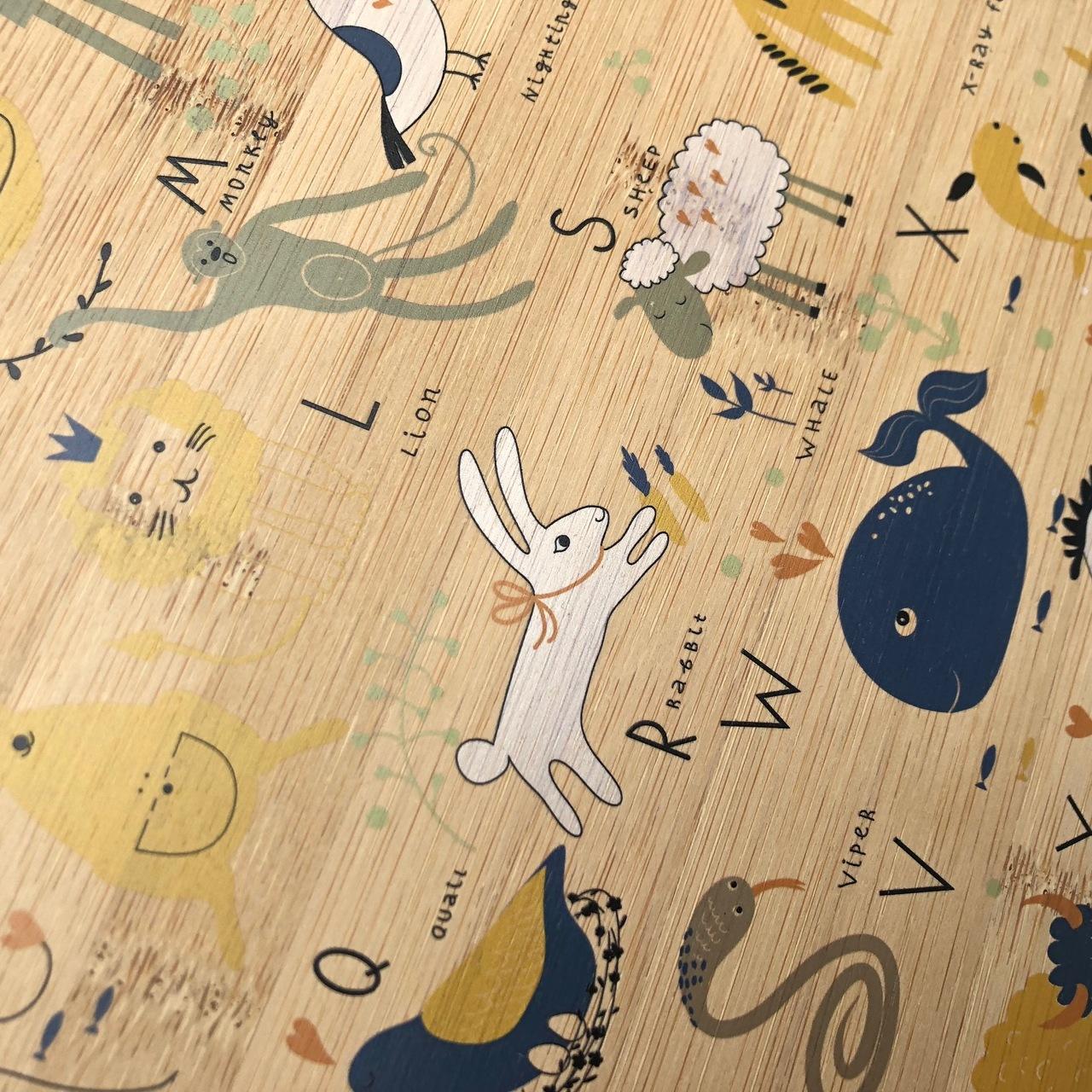 ABC Animal Scandi Alphabet bamboo plywood wall hanging