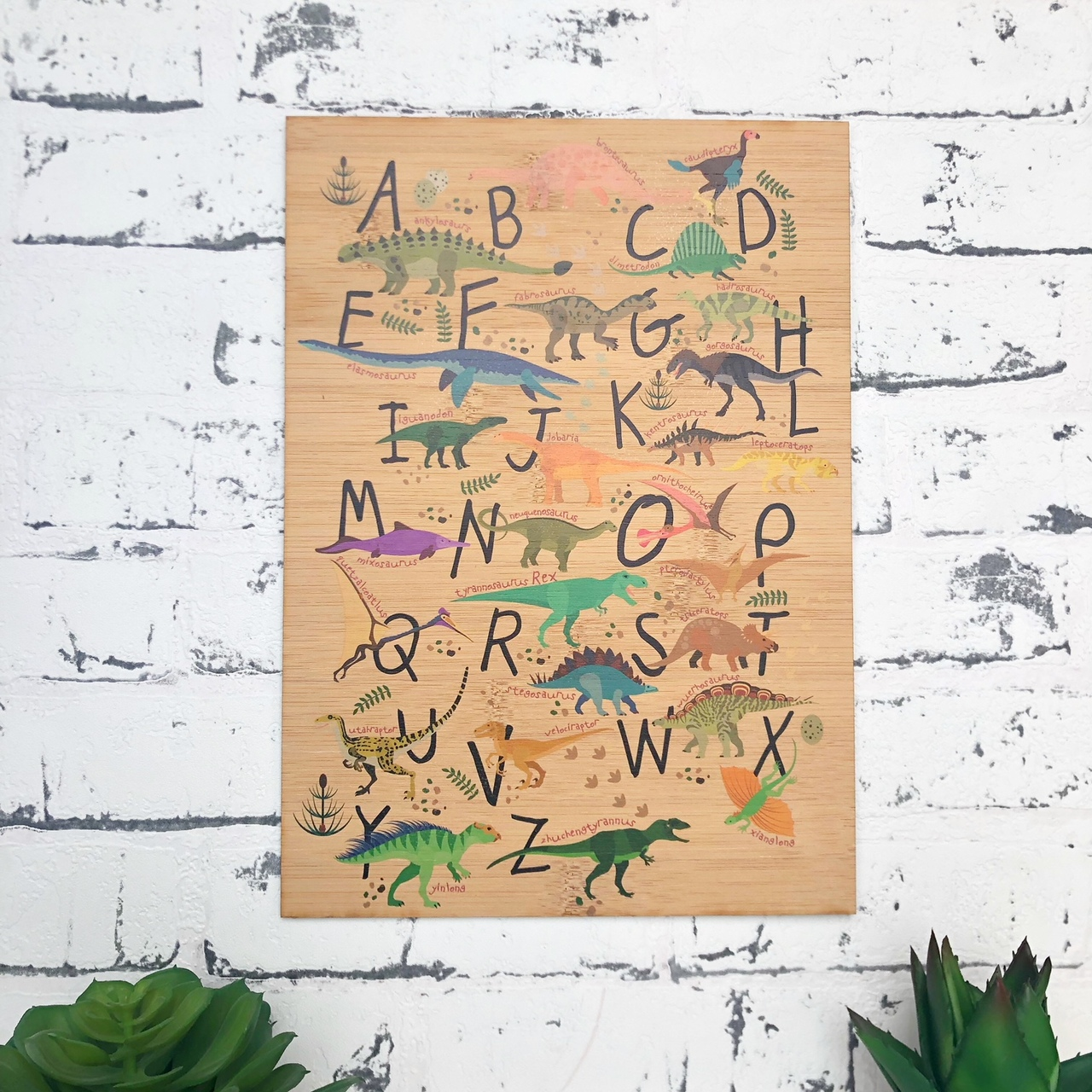 ABC Dino Alphabet Scandi bamboo plywood wall hanging