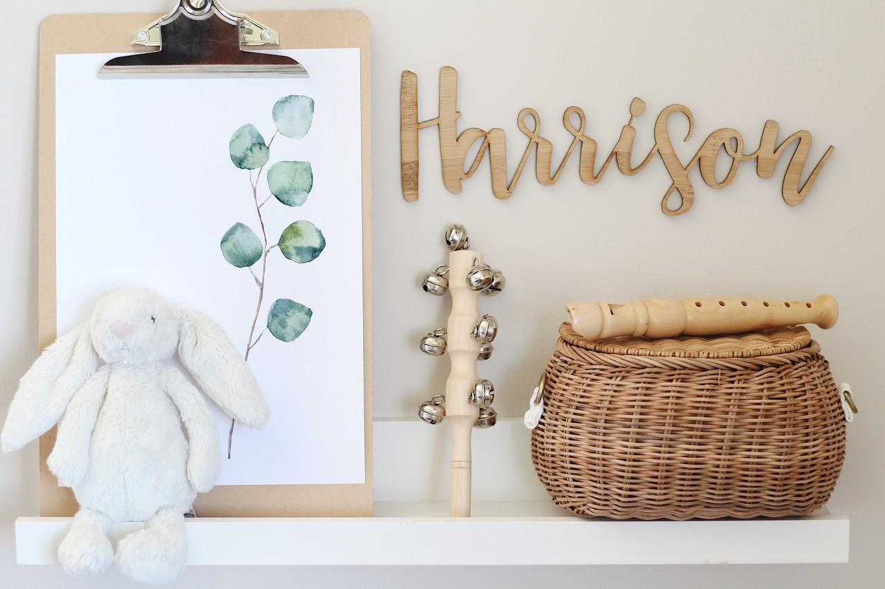 A custom wood nursery name sign