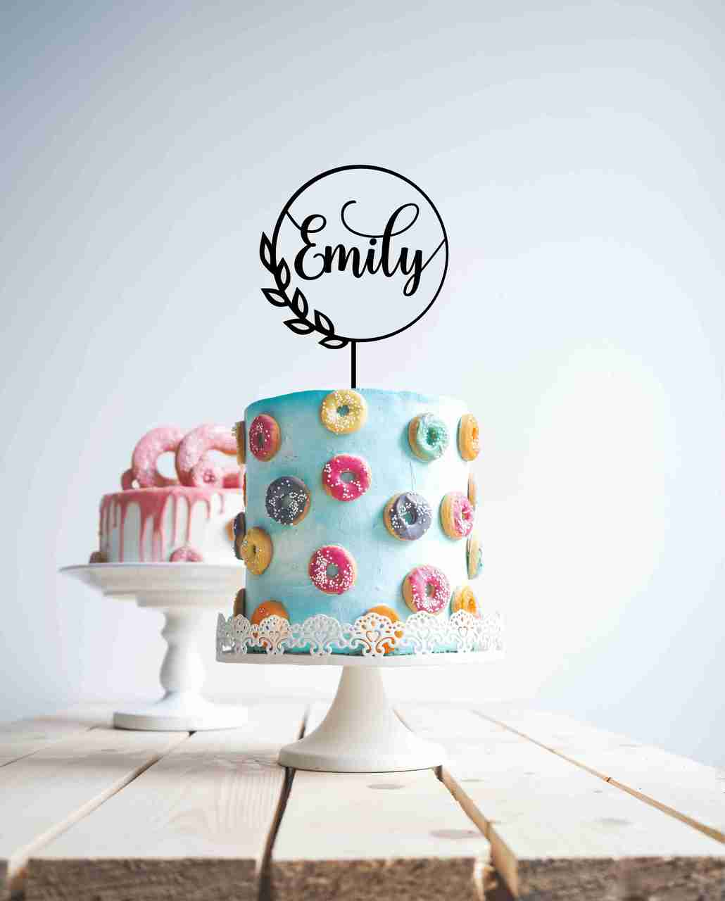 Personalised wreath cake topper