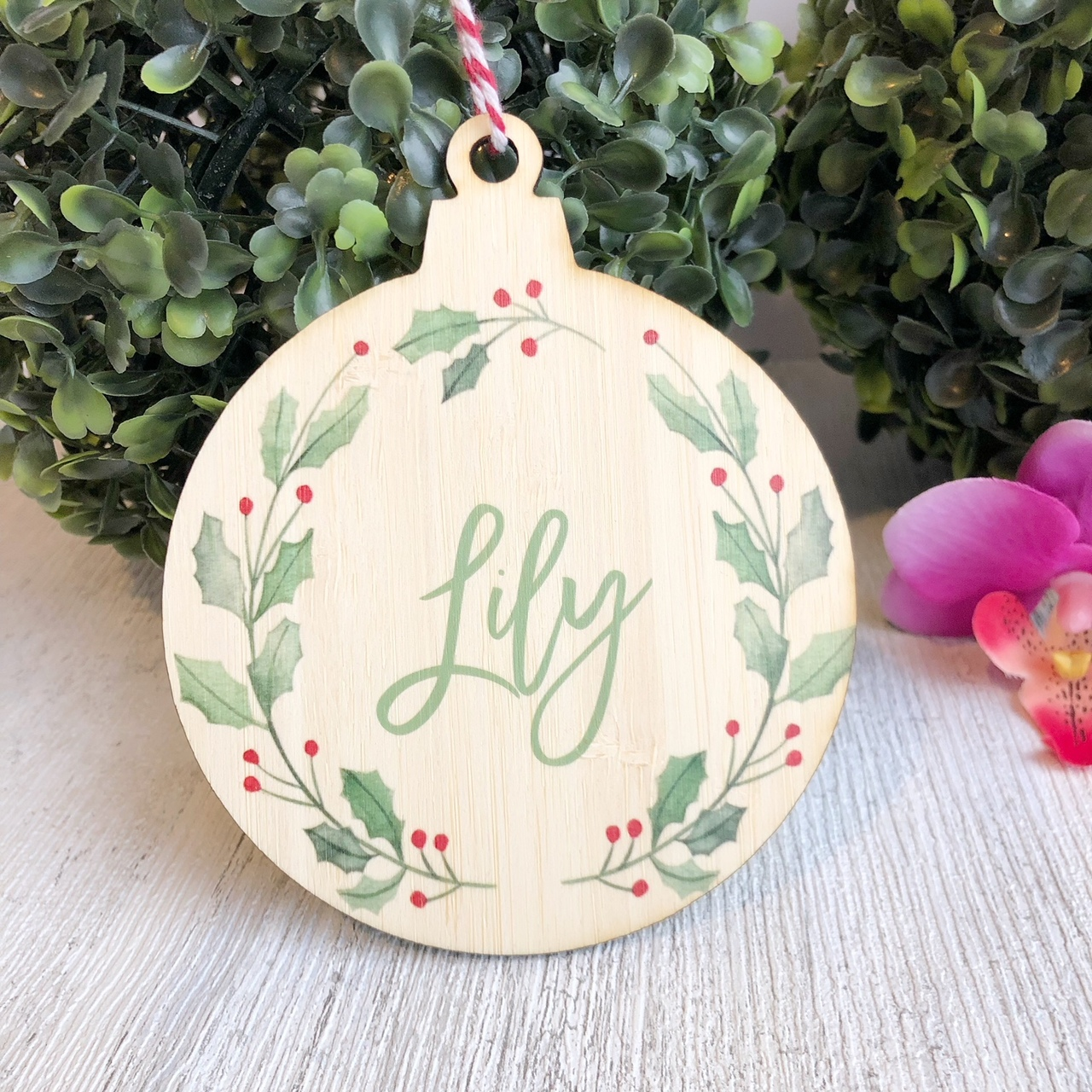 Christmas Bauble - Personalised Wreath