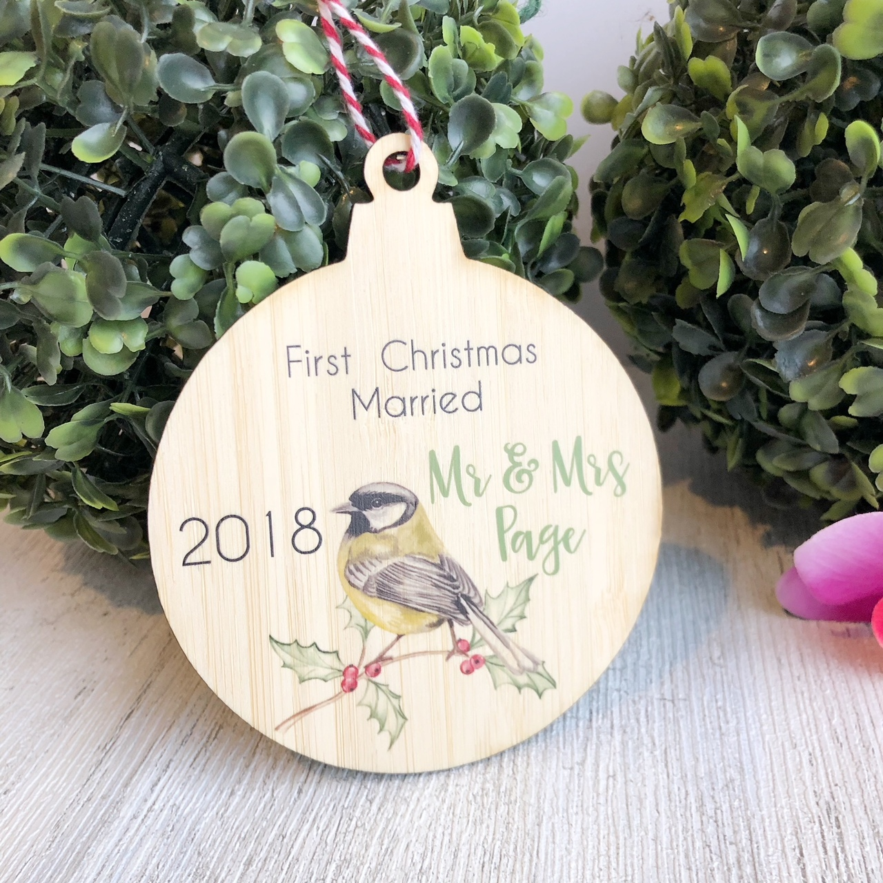 Christmas Bauble - First Christmas married Wren
