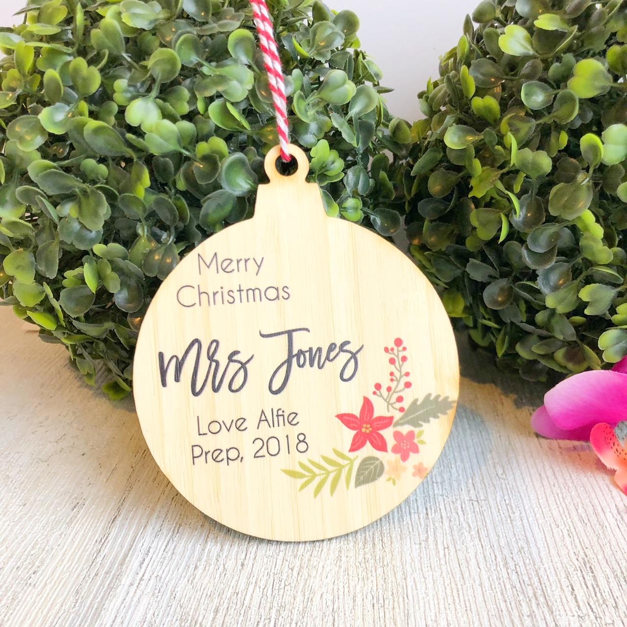 Christmas Bauble - Personalised Teacher Christmas Arrangement