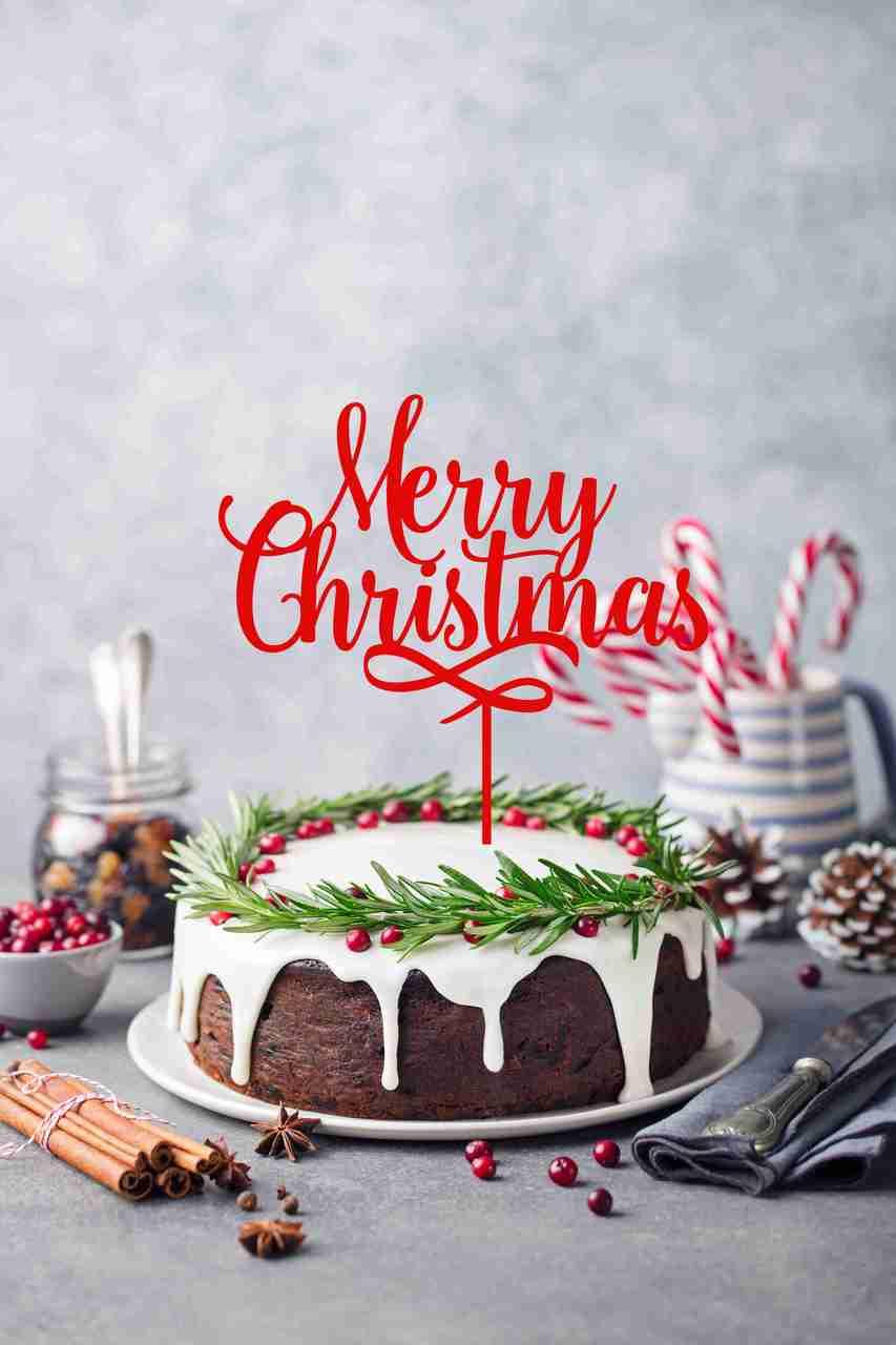 Standard Merry Christmas Cake Topper