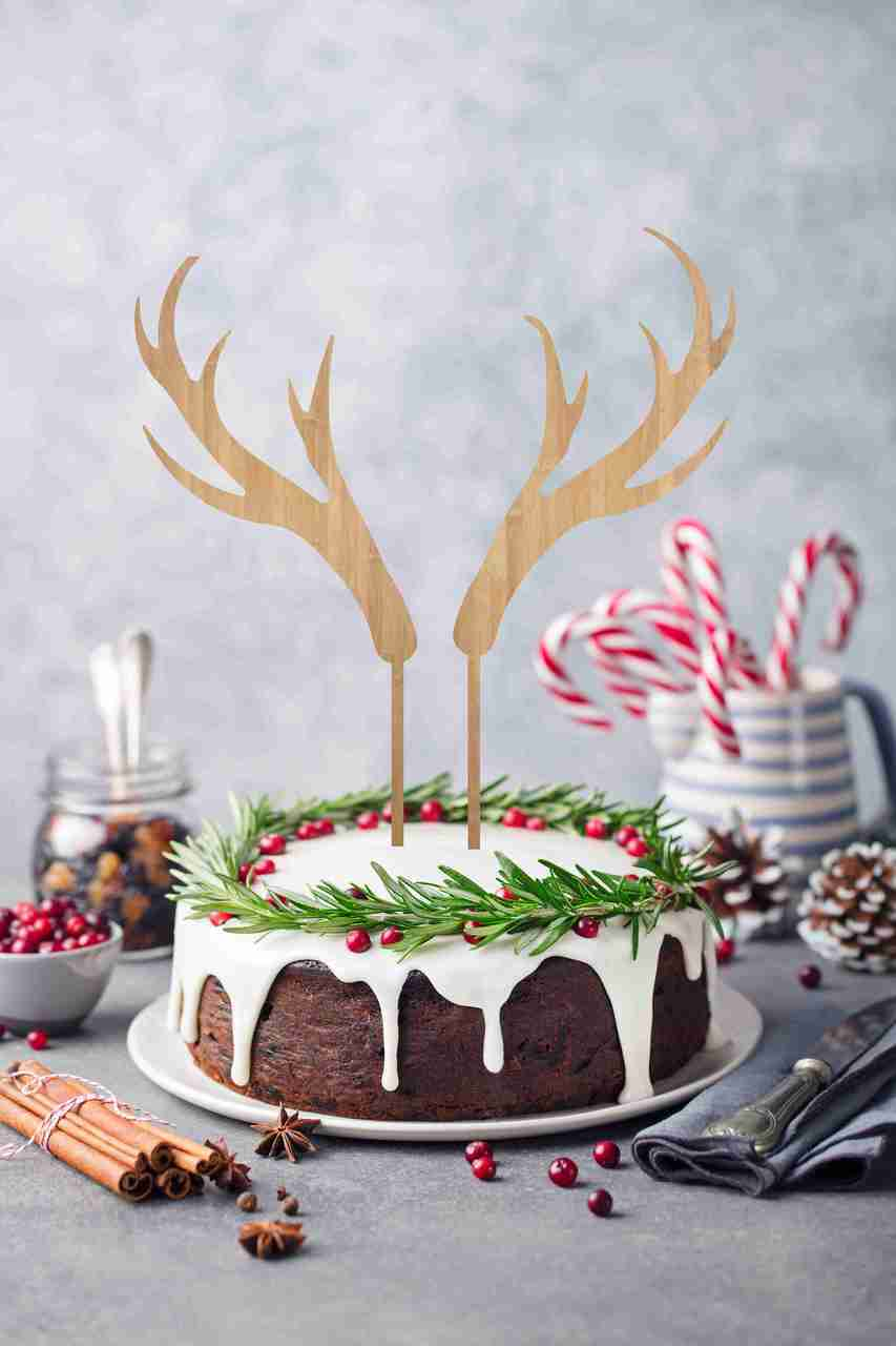 Set of 2 antlers Christmas Cake Topper