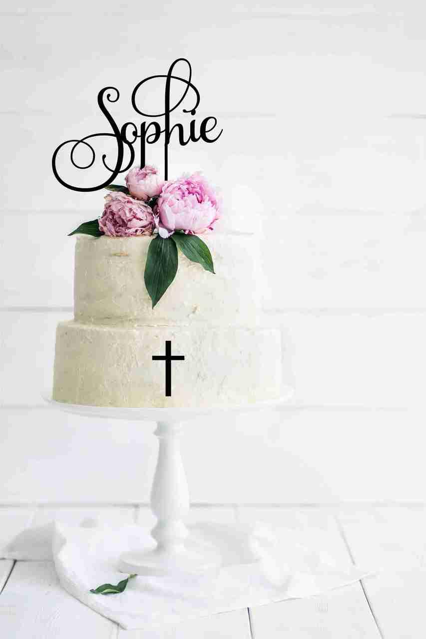 Ornate Baptism Cake Topper