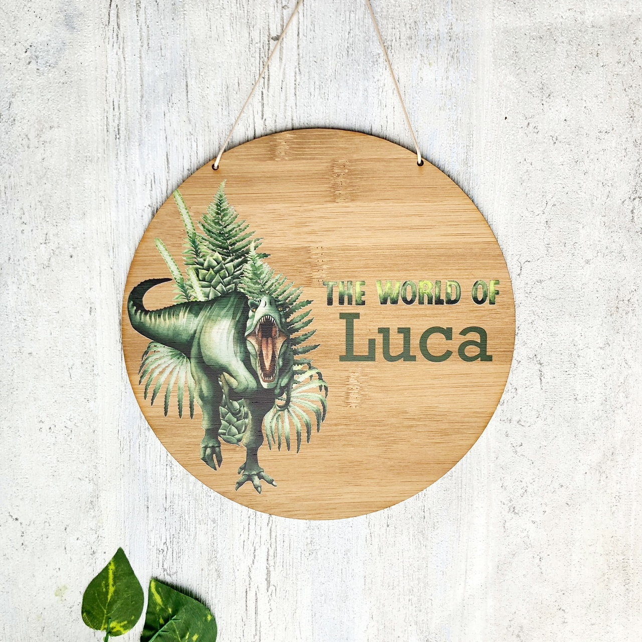 A Dinosaur  bamboo plywood wall hanging