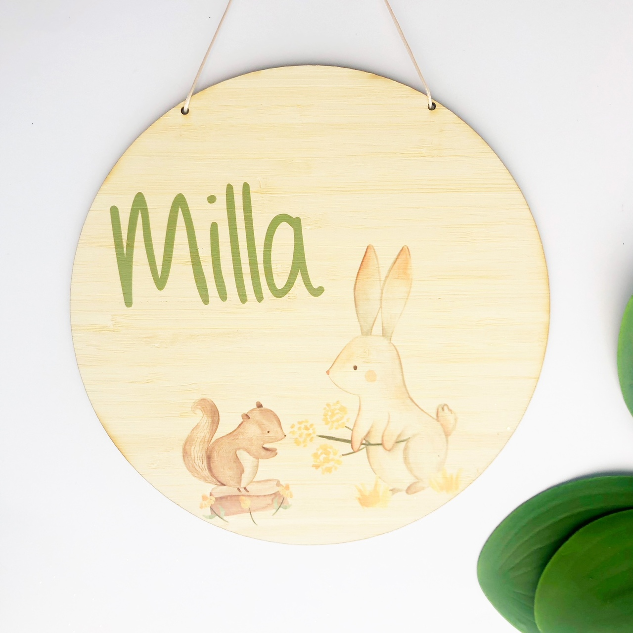 Squirrel and Bunny  bamboo plywood wall hanging