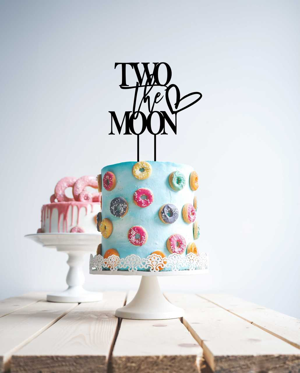 Two the moon modern  Cake Topper
