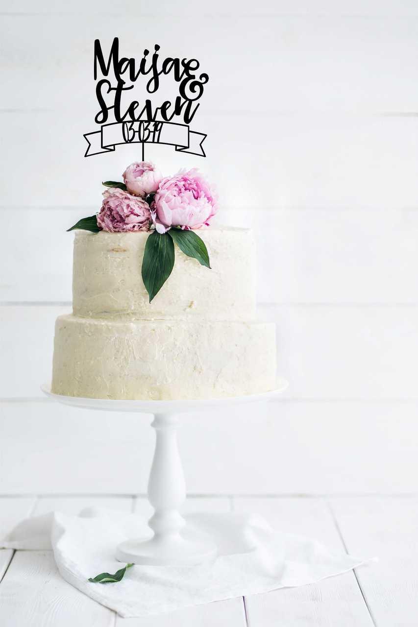 Wedding Cake Topper.Wedding Cake Topper With Date