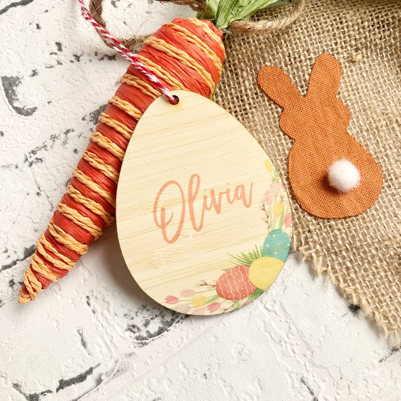 Personalised Easter Tag - Egg Wreath