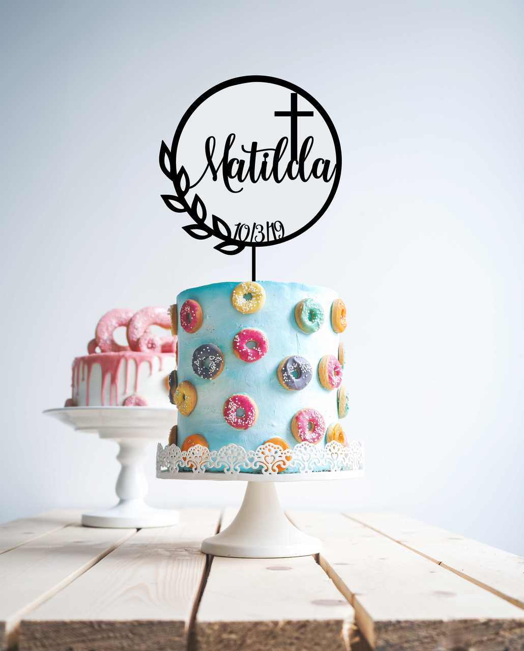 Baptism / christening cake topper with cross