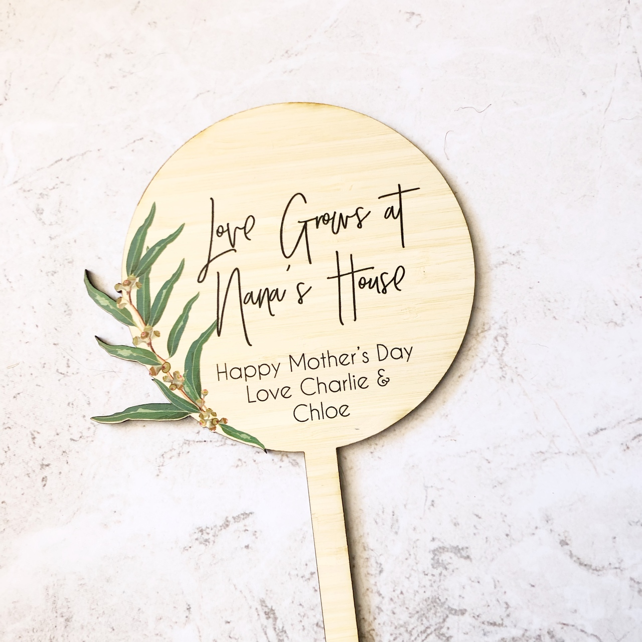 Mothers Day Gift - Gum Leaves Planter Stick