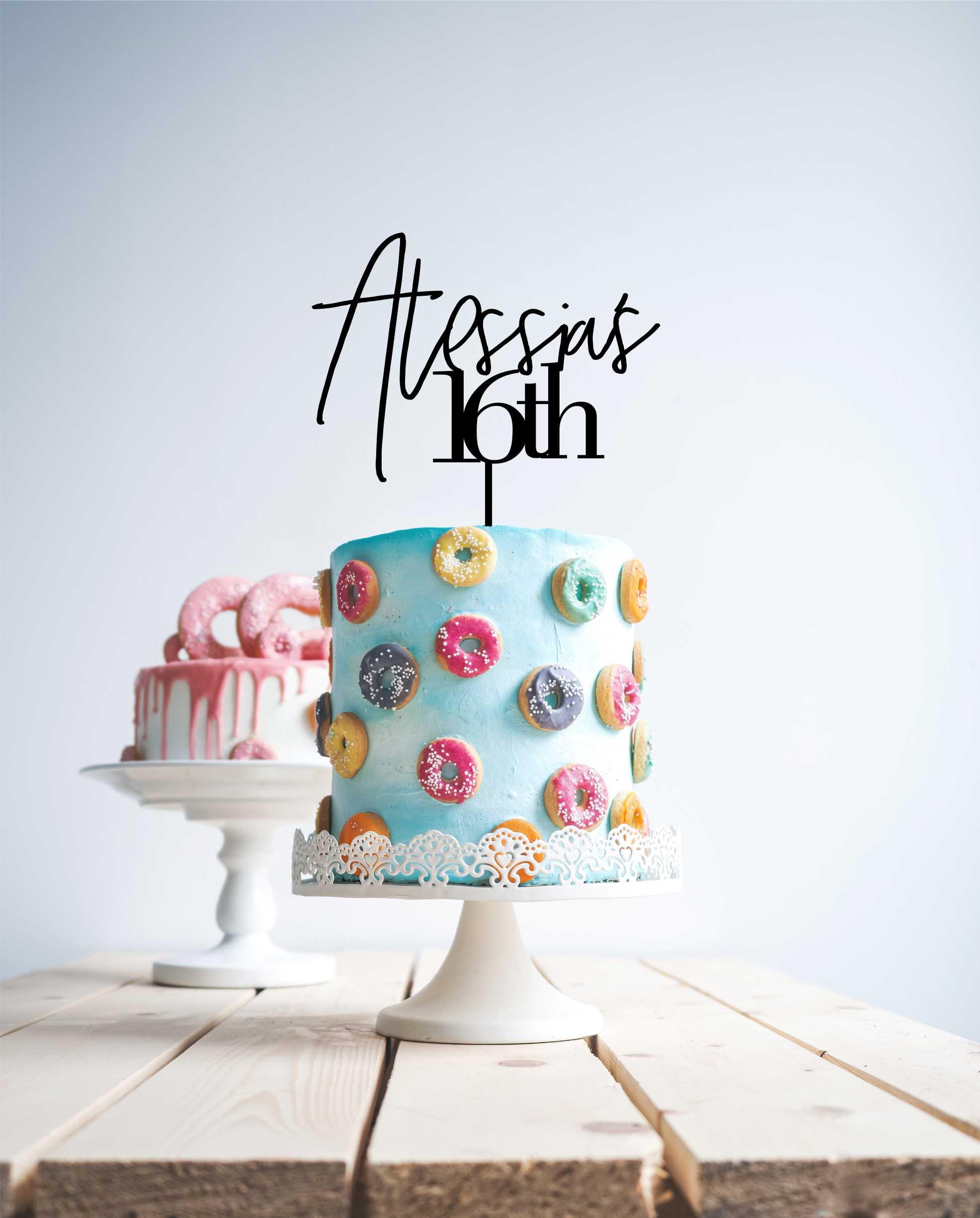 Modern 16 cake topper