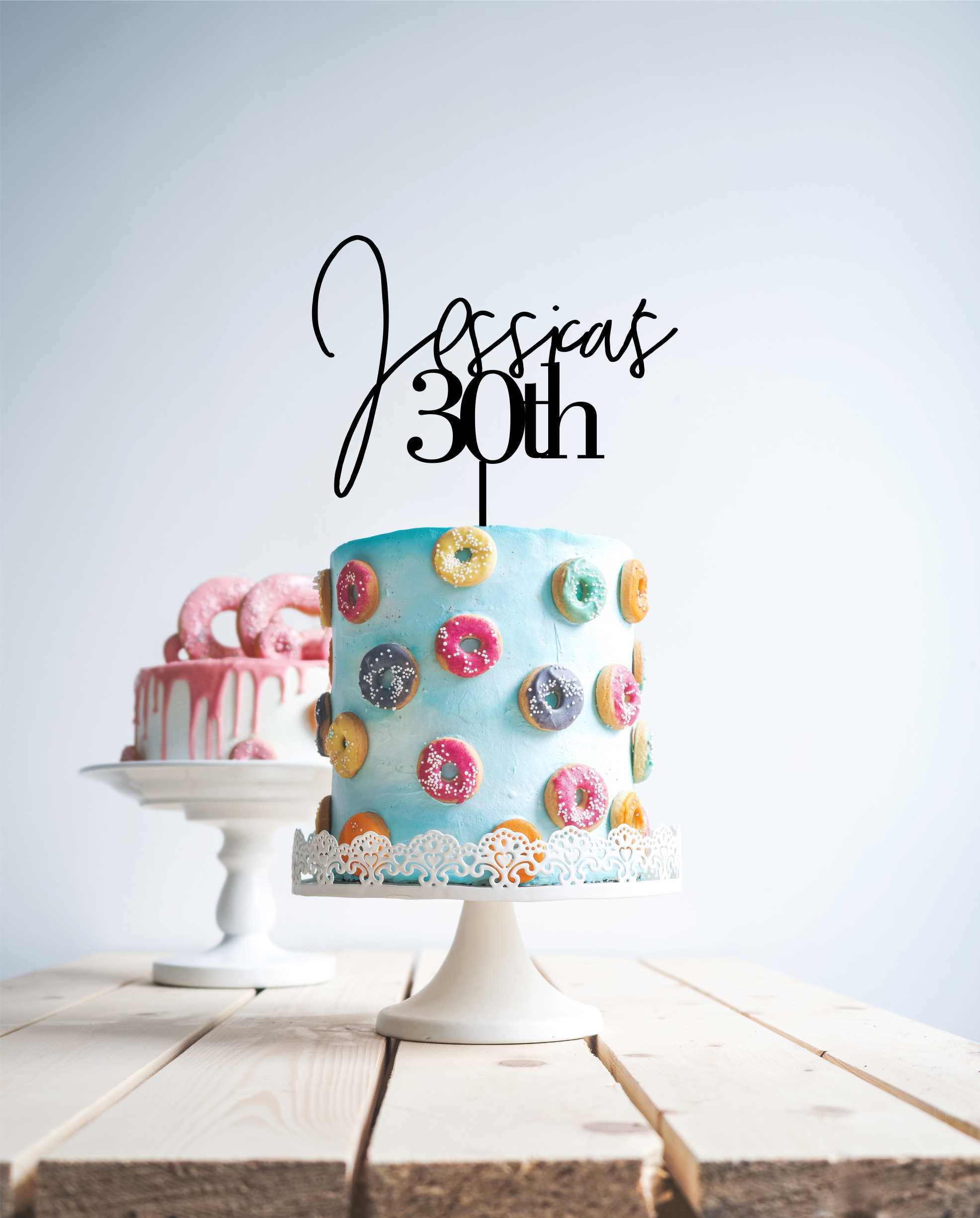 Modern 30 cake topper