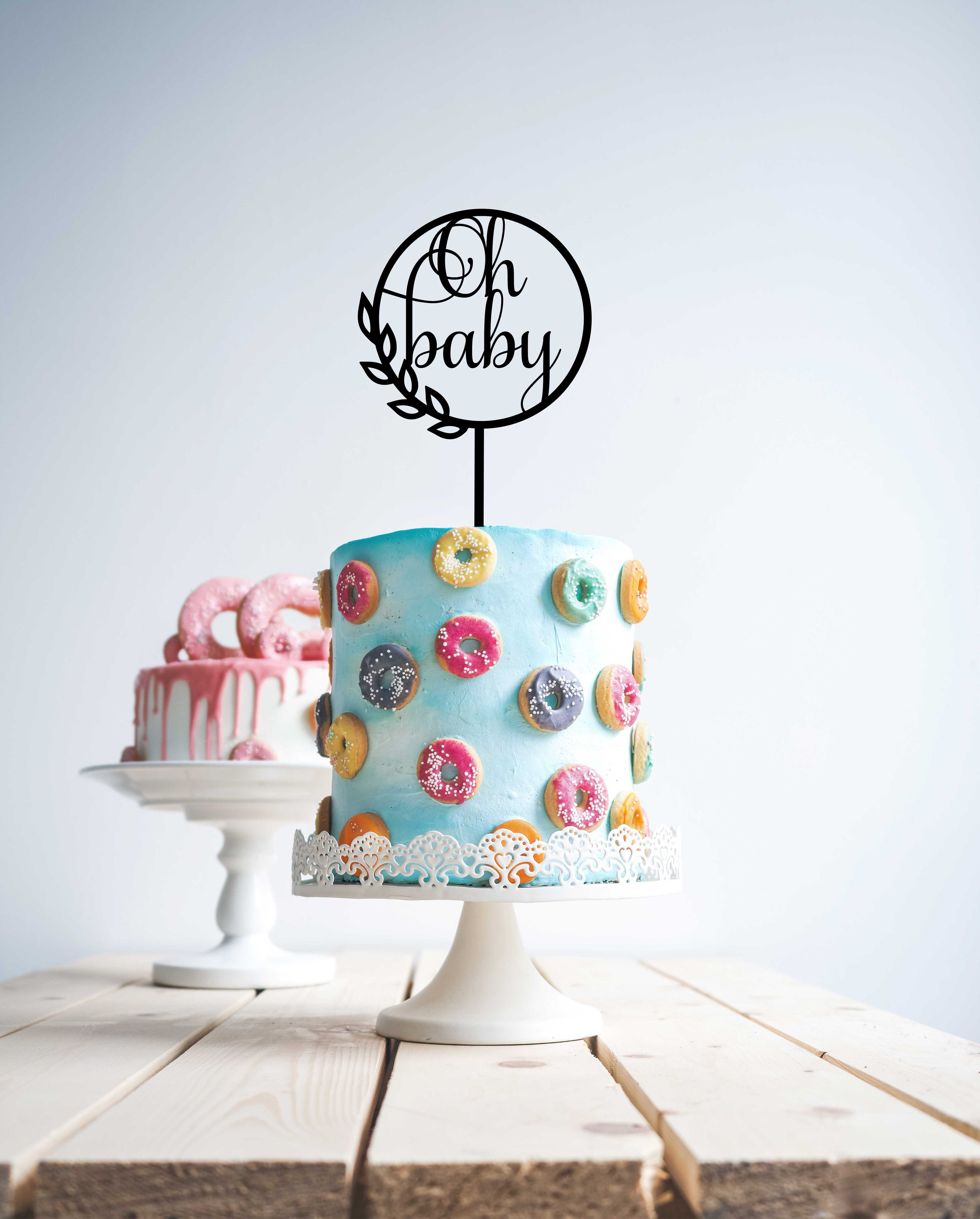 Modern Oh Baby Baby Shower Thinner Font Wood Cake Topper Wooden Topper