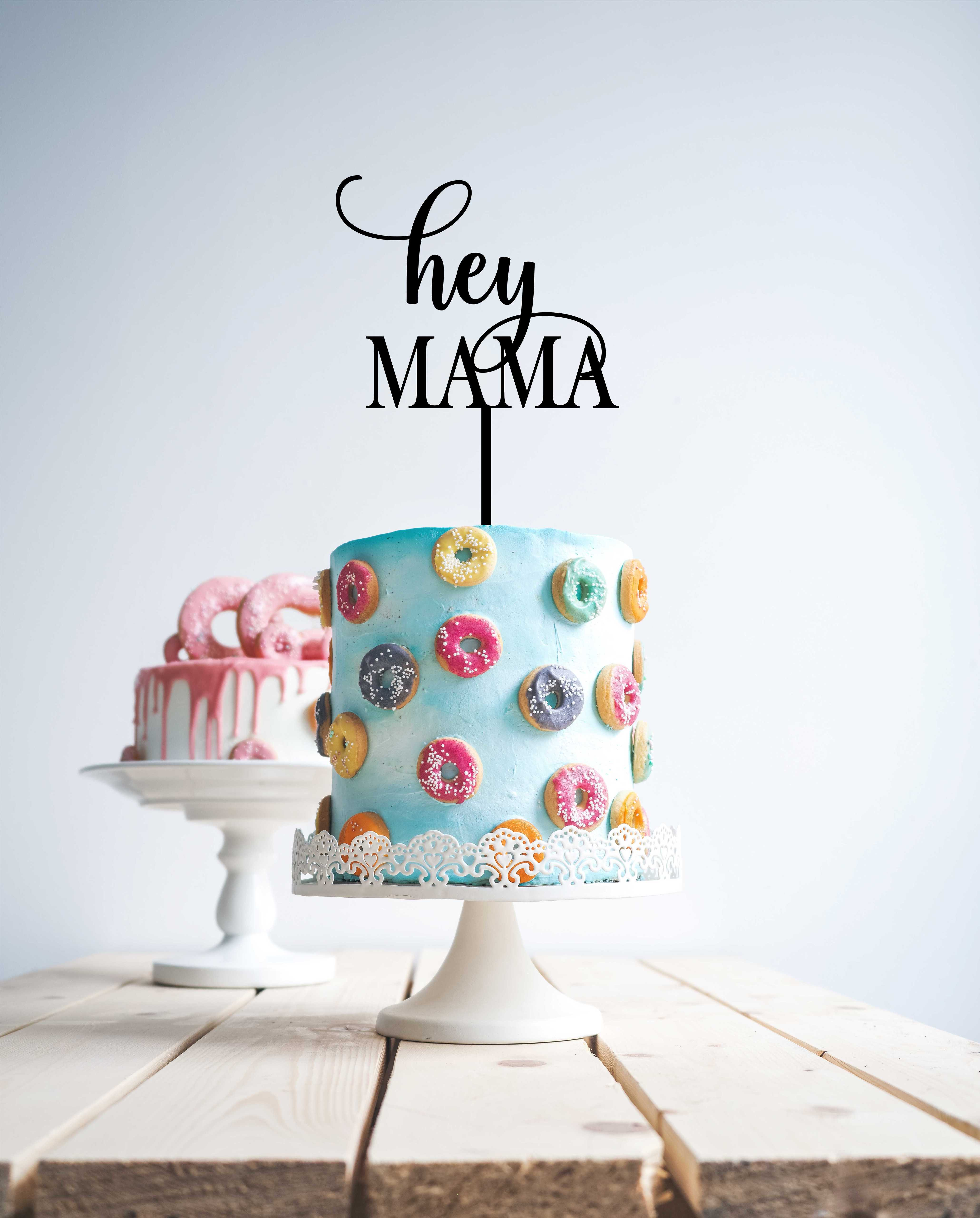 Hey Mama - baby shower  (thinner font) - Wood Cake Topper / wooden topper