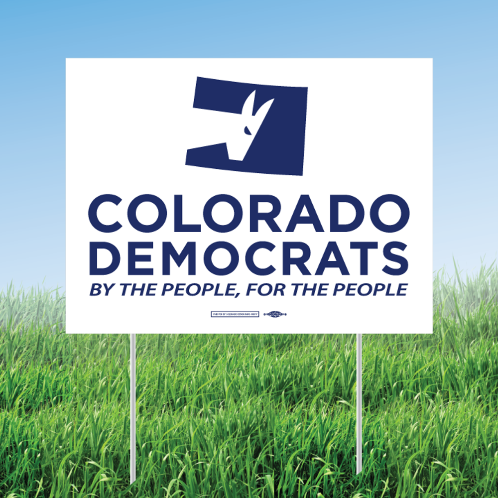 "Colorado Democrats Official Logo (18"" x 24"" Horizontally Oriented Coroplast Yard Sign)"
