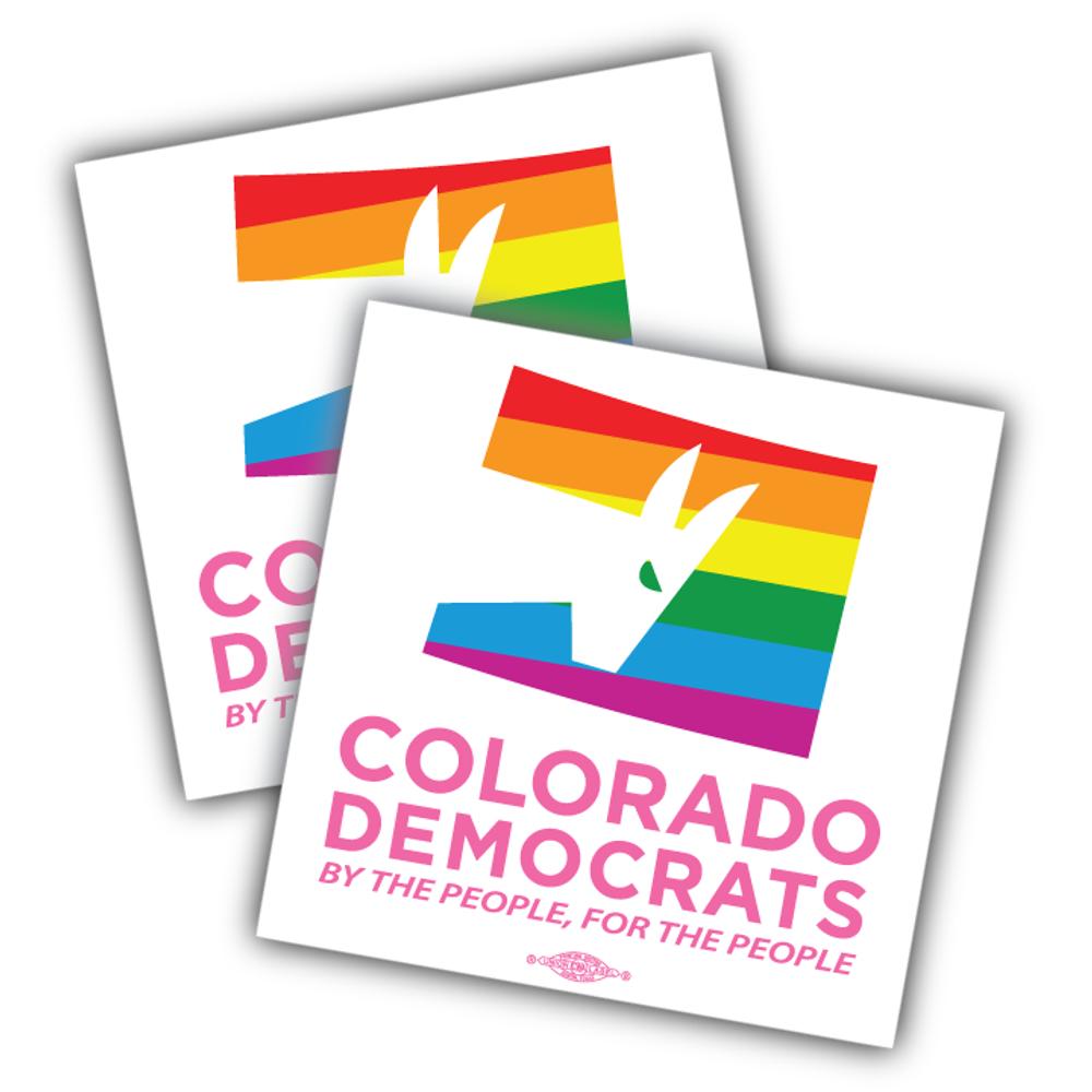 """Colorado Democrats Pride Logo (4"""" x 4"""" Vinyl Sticker -- Pack of Two!)"""