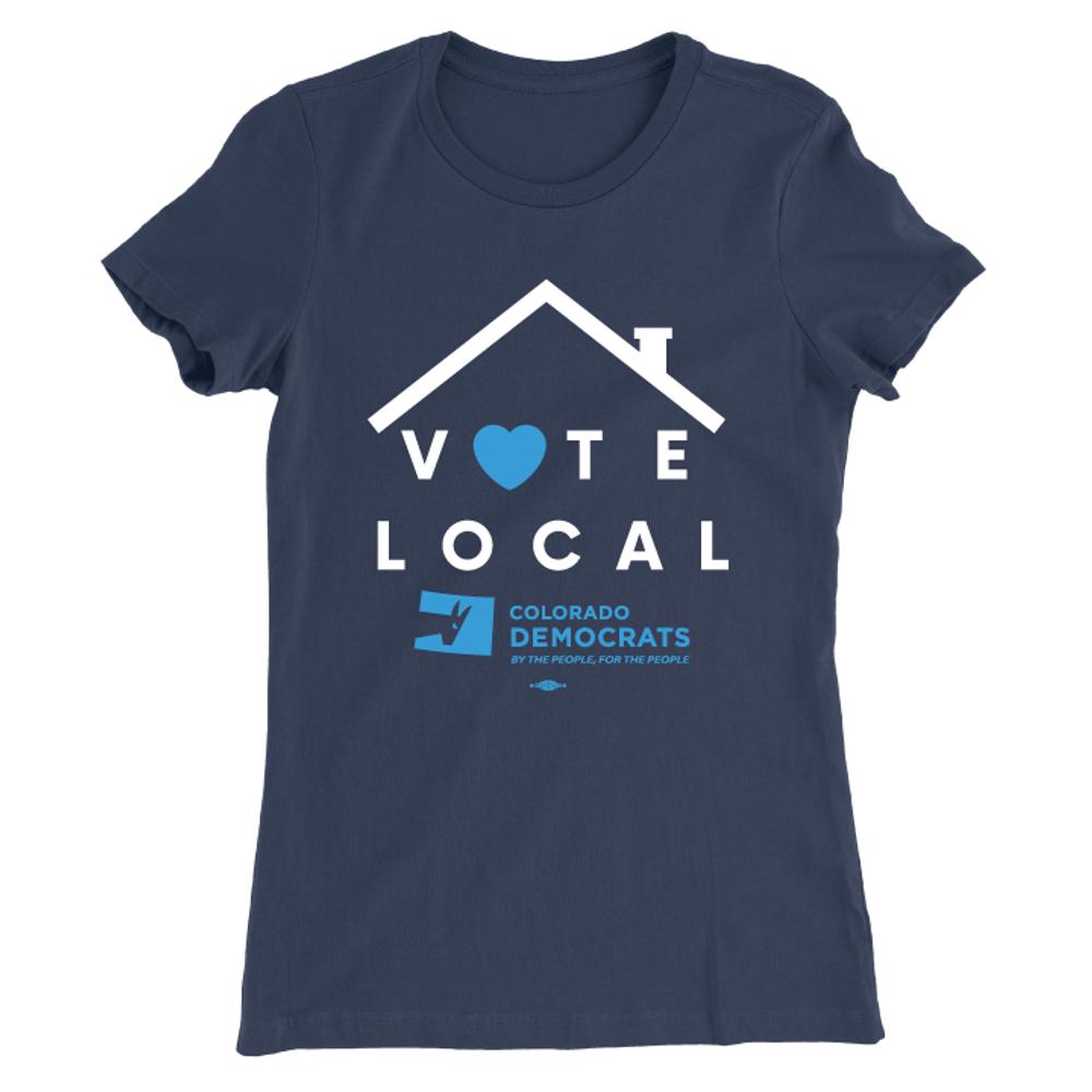 Vote Local (Women's Navy Tee)