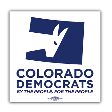 """Colorado Democrats Official Logo (4"""" x 4"""" Vinyl Sticker -- Pack of Two!)"""