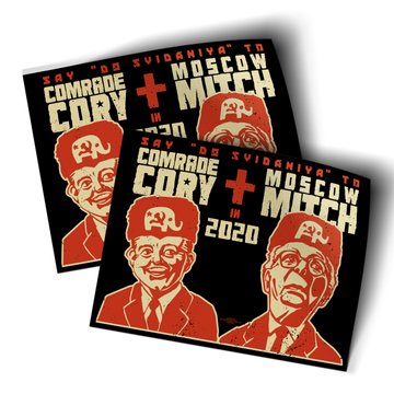 """Comrade Cory + Moscow Mitch (4.5"""" x 3.5"""" Vinyl Sticker -- Pack of Two!)"""