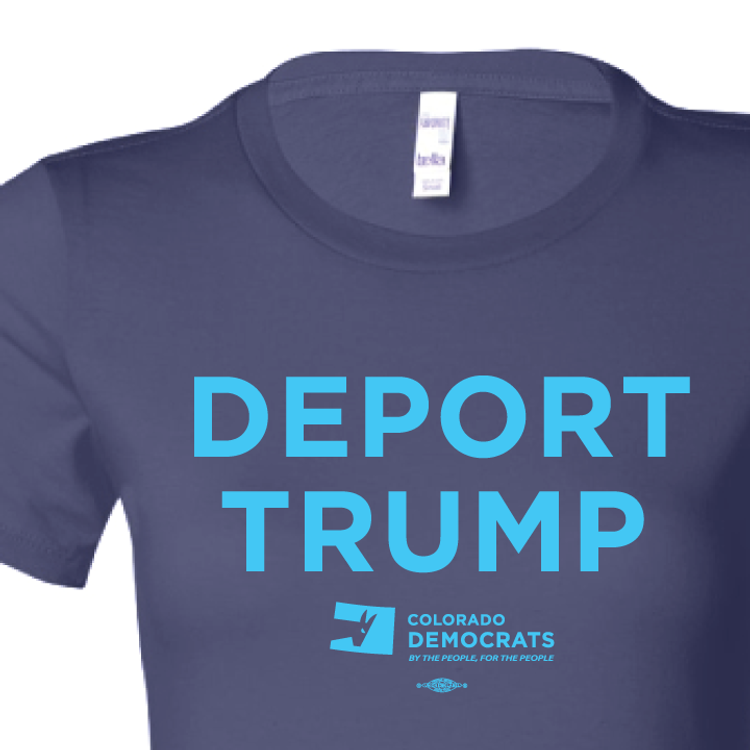 Deport Trump (Navy Ladies-Cut Tee)
