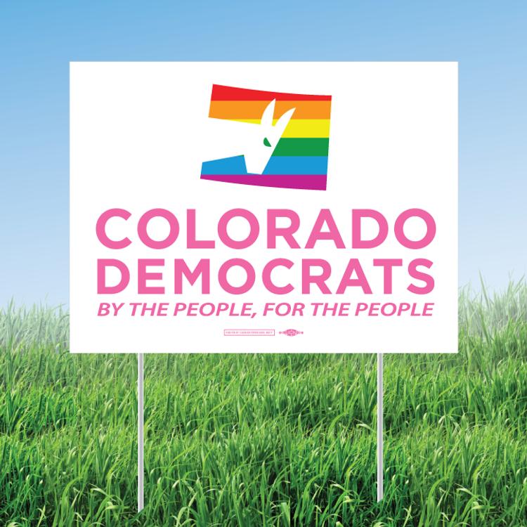"""Colorado Democrats Pride Logo (24"""" x 18"""" Coroplast Yard Sign)"""