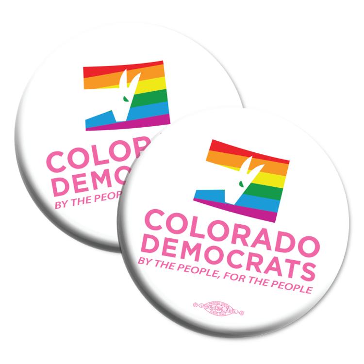 "Colorado Democrats Pride Logo (2.25"" Mylar Button -- Pack Of Two!)"