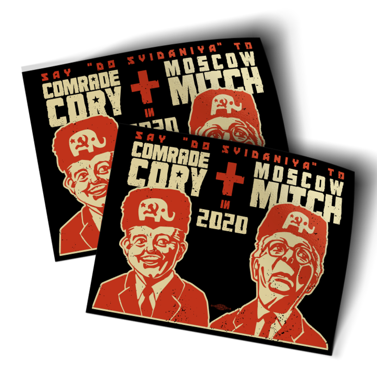 "Comrade Cory + Moscow Mitch (4.5"" x 3.5"" Vinyl Sticker -- Pack of Two!)"