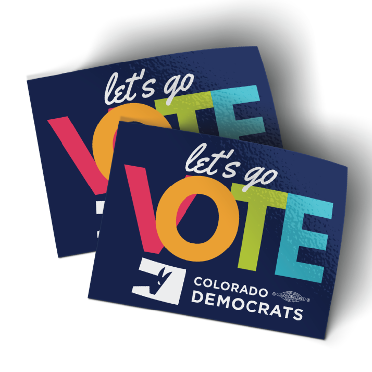 """Let's Go Vote (4"""" x 3"""" Vinyl Sticker -- Pack of Two!)"""