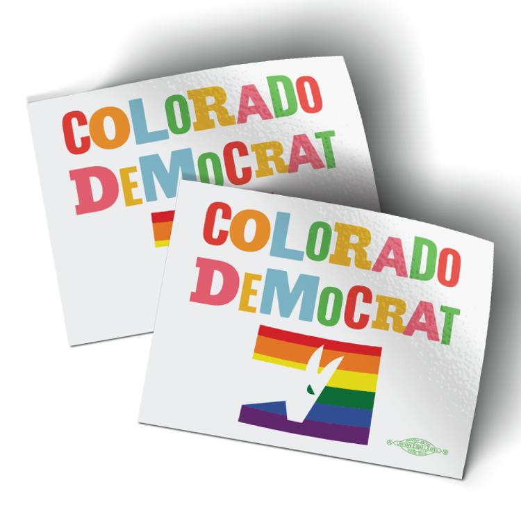 """Colorado Democrat - Pride (4"""" x 3"""" Vinyl Sticker -- Pack of Two!)"""