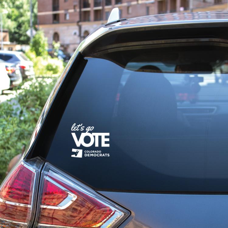 """Let's Go Vote (4"""" x 3"""" Window Decal)"""