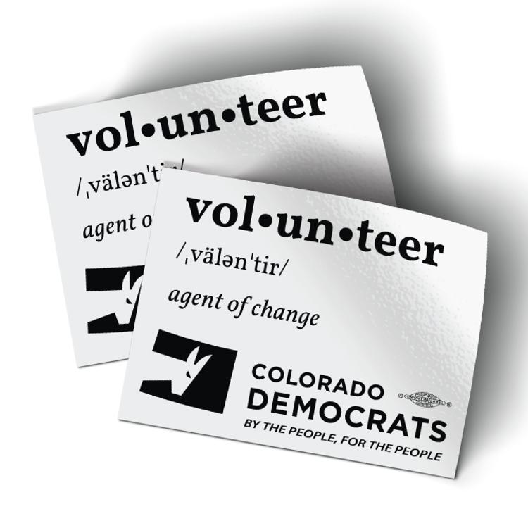"Volunteer Definition (4"" x 3"" Vinyl Sticker -- Pack of Two!)"