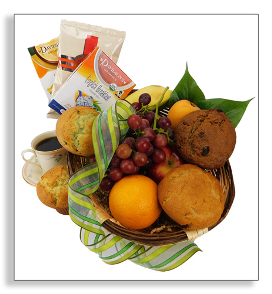 Continental basket for 2-4 people includes 4 muffins, a selection of seasonal fruit, coffee and 2 varieties of tea